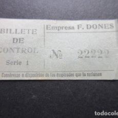 Coleccionismo Billetes de transporte: BILLETE CAPICUA REAL 22222 AUTOBUSES DE MADRID EMPRESA F. DONES BILLETE DE CONTROL. Lote 166790418