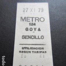 Coleccionismo Billetes de transporte: BILLETE METRO DE MADRID PARADA GOYA 124 AÑO 1979. Lote 166790630