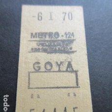 Coleccionismo Billetes de transporte: BILLETE METRO DE MADRID PARADA GOYA 124 AÑO 1970 CAPICUA 54445. Lote 166790678
