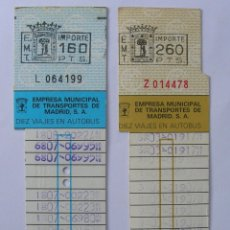 Coleccionismo Billetes de transporte: 2 BONOBUS EMT MADRID DE 160 PESETAS Y DE 260 PTS AÑOS 80. Lote 167000908