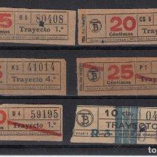 Coleccionismo Billetes de transporte: 6 BILLETES CAPICUA TRANSPORTES DE BARCELONA - TRANVIA - AÑOS 40 - 10,20,25,30 CTMS.. Lote 167009260