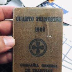 Coleccionismo Billetes de transporte: BILLETE DE ABONO DEL 4 TRIMESTRE 1909 COMPAÑÍA GENERAL DE TRANVÍAS DE BARCELONA NÚMERO 64. Lote 167048372