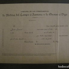 Coleccionismo Billetes de transporte: COMPAÑIA FERROCARRILES MEDINA DEL CAMPO, ZAMORA, ORENSE & VIGO-JUNTA GENERAL 1890-VER FOTOS-V-17358. Lote 167462140