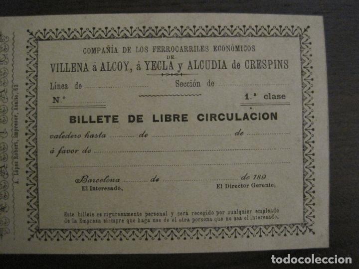 Coleccionismo Billetes de transporte: COMPAÑIA FERROCARRILES-VILLENA-ALCOY-YECLA-ALCUDIA DE CRESPINS-BILLETE AÑO 1890-VER FOTOS-(V-17.357) - Foto 2 - 167462640