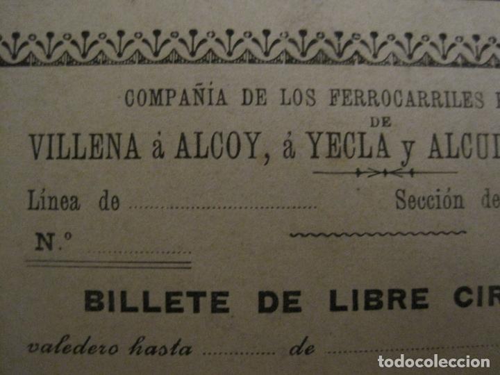 Coleccionismo Billetes de transporte: COMPAÑIA FERROCARRILES-VILLENA-ALCOY-YECLA-ALCUDIA DE CRESPINS-BILLETE AÑO 1890-VER FOTOS-(V-17.357) - Foto 4 - 167462640