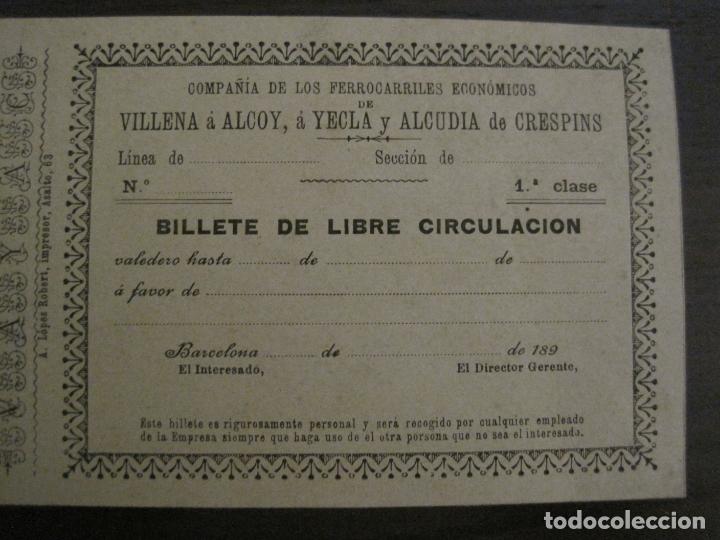 Coleccionismo Billetes de transporte: COMPAÑIA FERROCARRILES-VILLENA-ALCOY-YECLA-ALCUDIA DE CRESPINS-BILLETE AÑO 1890-VER FOTOS-(V-17.357) - Foto 6 - 167462640