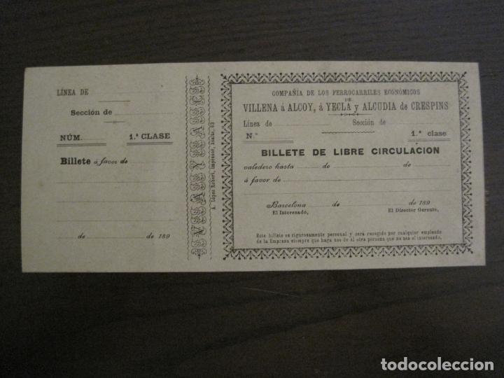 Coleccionismo Billetes de transporte: COMPAÑIA FERROCARRILES-VILLENA-ALCOY-YECLA-ALCUDIA DE CRESPINS-BILLETE AÑO 1890-VER FOTOS-(V-17.357) - Foto 10 - 167462640