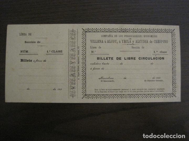 COMPAÑIA FERROCARRILES-VILLENA-ALCOY-YECLA-ALCUDIA DE CRESPINS-BILLETE AÑO 1890-VER FOTOS-(V-17.357) (Coleccionismo - Billetes de Transporte)
