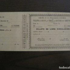 Coleccionismo Billetes de transporte: COMPAÑIA FERROCARRILES-VILLENA-ALCOY-YECLA-ALCUDIA DE CRESPINS-BILLETE AÑO 1890-VER FOTOS-(V-17.357). Lote 167462640