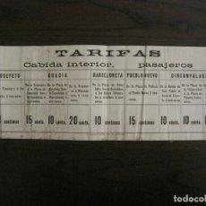 Coleccionismo Billetes de transporte: CARTELITO TARIFAS FERROCARRILES CATALANES-BARCELONA-VER FOTOS-(V-17.360). Lote 167463516