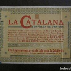 Coleccionismo Billetes de transporte: CARTELITO LA CATALANA EMPRESA DE OMNIBUS-BARCELONA-PAPEL PEGADO A CARTON-VER FOTOS-(V-17.363). Lote 167464160