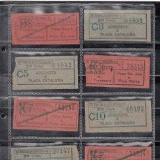Coleccionismo Billetes de transporte: 10 BILLETES TRANVIAS DE BARCELONA. Lote 167464792