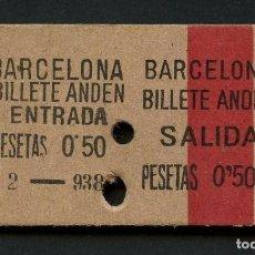 Coleccionismo Billetes de transporte: GUERRA CIVIL, BILLETE, FERROCARRIL, ANDEN ENTRADA - ANDEN SALIDA, 1938, RARO. Lote 167469180