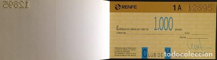 Coleccionismo Billetes de transporte: Renfe Club de Viajes talonario con talones (sin usar) - Foto 3 - 167712184