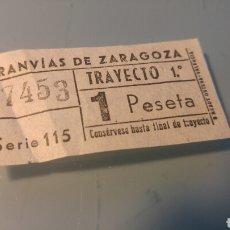 Coleccionismo Billetes de transporte: BILLETE TRANVÍAS DE ZARAGOZA - SERIE 115 - AÑOS 60. Lote 167805368