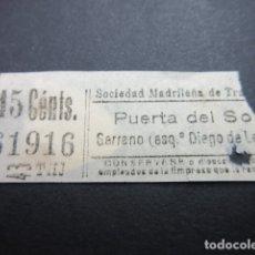 Coleccionismo Billetes de transporte: BILLETE MADRID SOCIEDAD MADRILEÑA TRANVIAS PUERTA SOL SERRANO - REF: ARD-MAD100 - CAPICUA 61916. Lote 167940892