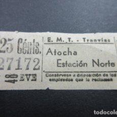 Coleccionismo Billetes de transporte: BILLETE MADRID EMT TRANVIAS AUTOBUSES ATOCHA ESTACION NORTE REF: ARD-MAD100 - CAPICUA 27172. Lote 167943932