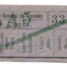 Coleccionismo Billetes de transporte: BILLETE COMPAÑIA GENERAL DE TRANVIAS, 10 CENTIMOS.. Lote 168103584