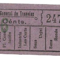 Coleccionismo Billetes de transporte: BILLETE COMPAÑIA GENERAL DE TRANVIAS, 10 CENTIMOS.. Lote 168103700