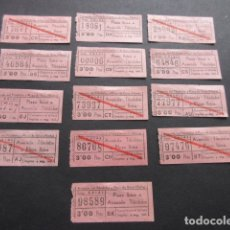 Coleccionismo Billetes de transporte: LOTE 13 BILLETE CAPICUA NUMEROS DIFERENTES AUTOBUSES CASAS PLAZA IBIZA AVENIDA TIBIDABO. Lote 168177044
