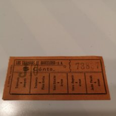 Coleccionismo Billetes de transporte: 001. BILLETE DE TRANSPORTE . LOS TRANVÍAS DE BARCELONA. 5 CENTS. CAPICUA.. Lote 168308122