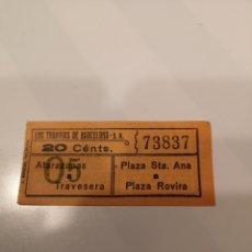 Coleccionismo Billetes de transporte: 003. BILLETE DE TRANSPORTE. LOS TRANVÍAS DE BARCELONA. 20 CENTS. CAPICUA. Lote 168308353