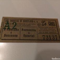 Coleccionismo Billetes de transporte: 010. BILLETE DE TRANSPORTE. LOS TRANVÍAS DE BARCELONA. CAPICUA. 25 CENTS. Lote 168310194