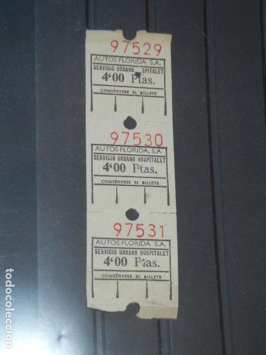 SERVICIO URBANO HOSPITALET DE LLOBREGAT - AUTOS FLORIDA 4 PTAS (Coleccionismo - Billetes de Transporte)