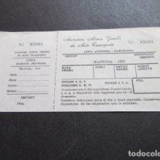 Coleccionismo Billetes de transporte: BILLETE ANONIMA ALSINA GRAELLS DE AUTO TRASNPORTE LINEA ANDORRA BARCELONA - MANRESA SEU. Lote 168563460