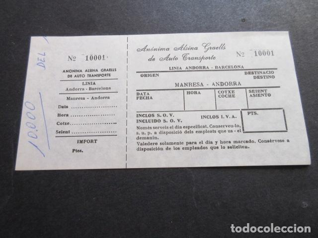 BILLETE ANONIMA ALSINA GRAELLS DE AUTO TRASNPORTE LINEA ANDORRA BARCELONA - MANRESA ANDORRA (Coleccionismo - Billetes de Transporte)