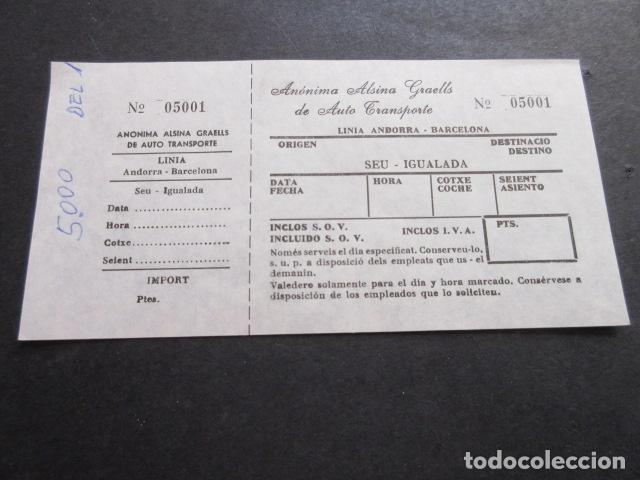 BILLETE ANONIMA ALSINA GRAELLS DE AUTO TRASNPORTE LINEA ANDORRA BARCELONA - SEU IGUALADA (Coleccionismo - Billetes de Transporte)