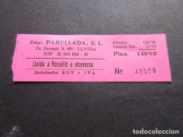BILLETE EMPRESA PARELLADA CARRETERA ZARAGOZA LLEIDA A ROSELLO (Coleccionismo - Billetes de Transporte)