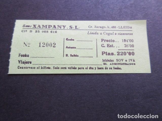 BILLETE EMPRESA XAMPANY CARRETERA ZARAGOZA LLEIDA A COGUT (Coleccionismo - Billetes de Transporte)