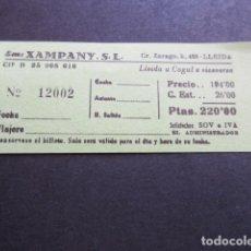 Coleccionismo Billetes de transporte: BILLETE EMPRESA XAMPANY CARRETERA ZARAGOZA LLEIDA A COGUT . Lote 168564512
