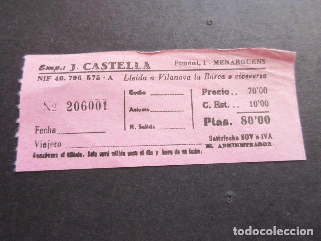 BILLETE EMPRESA J. CASTELLA LLEIDA A VILANOVA LA BARCA (Coleccionismo - Billetes de Transporte)