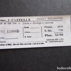 Coleccionismo Billetes de transporte: BILLETE EMPRESA J. CASTELLA LLEIDA A ALCOLETGE. Lote 168564652