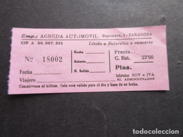BILLETE EMPRESA AGREDA AUTOMOVIL ZARAGOZA - LLEIDA BUJARALOZ (Coleccionismo - Billetes de Transporte)