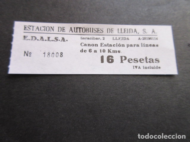 BILLETE EDALSA ESTACION DE AUTOBUSES DE LLEIDA 16 PESETAS (Coleccionismo - Billetes de Transporte)