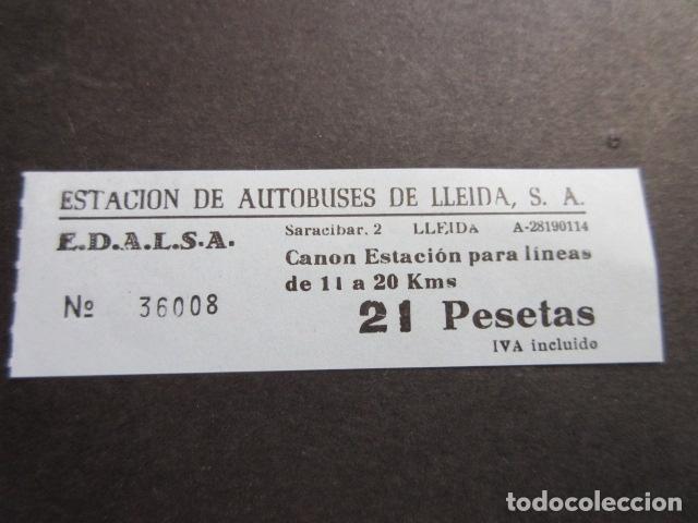 BILLETE EDALSA ESTACION DE AUTOBUSES DE LLEIDA 21 PESETAS (Coleccionismo - Billetes de Transporte)