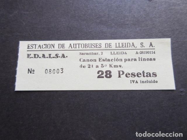 BILLETE EDALSA ESTACION DE AUTOBUSES DE LLEIDA 28 PESETAS (Coleccionismo - Billetes de Transporte)