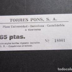 Coleccionismo Billetes de transporte: BILLETE TORRES PONS - PLAZA UNIVERSIDAD BARCELONA CASTELLDEFELS. Lote 168674586