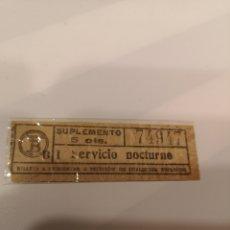 Coleccionismo Billetes de transporte: 015. BILLETE DE TRANSPORTE DE TRANVIA DE BARCELONA. 5 CTS. CAPICUA. SERVICIO NOCTURNO. Lote 168754609
