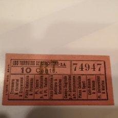 Coleccionismo Billetes de transporte: 016. BILLETE DE TRANSPORTE. LOS TRANVÍAS DE BARCELONA. 10 CENTS. CAPICUA. Lote 168754678