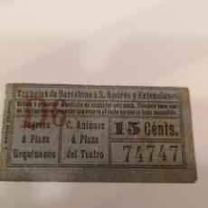 Coleccionismo Billetes de transporte: 017. BILLETE DE TRANSPORTE. TRANVÍAS DE BARCELONA. 15 CENTS. CAPICUA. Lote 168754721