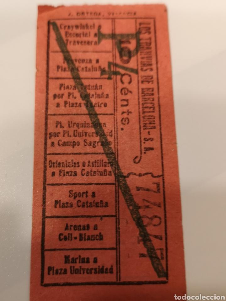 Coleccionismo Billetes de transporte: 018. Billete de transporte. Los tranvías de Barcelona. Capicua. 10 cents - Foto 2 - 168754786