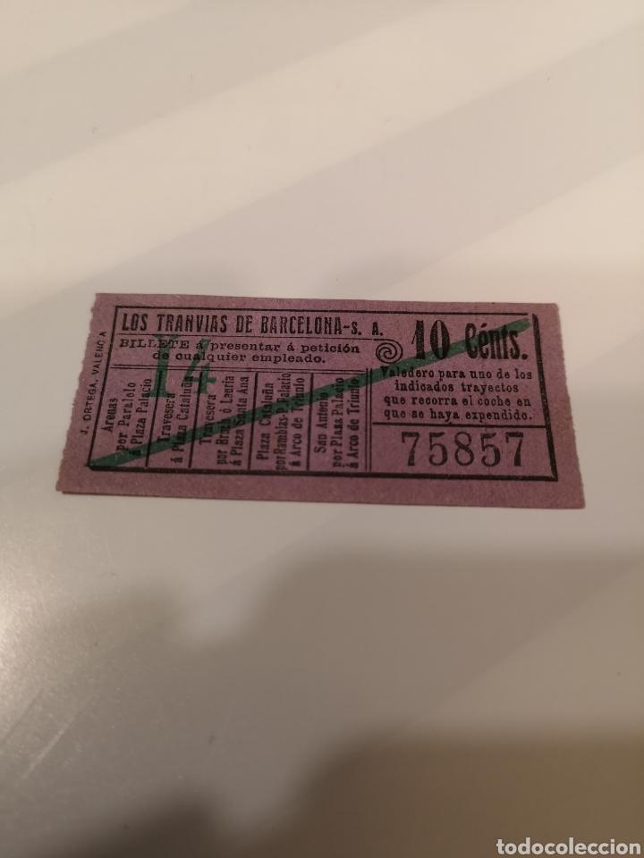 030. BILLETE DE TRANSPORTE. LOS TRANVÍAS DE BARCELONA. 10 CENTS. CAPICUA (Coleccionismo - Billetes de Transporte)