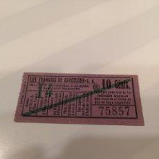 Coleccionismo Billetes de transporte: 030. BILLETE DE TRANSPORTE. LOS TRANVÍAS DE BARCELONA. 10 CENTS. CAPICUA. Lote 168755773