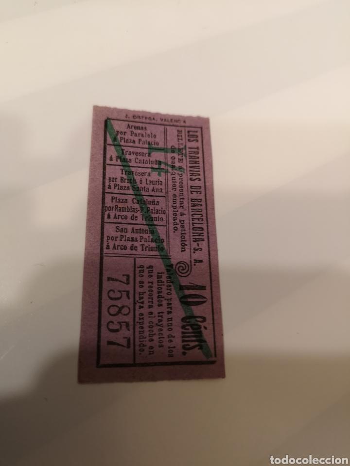 Coleccionismo Billetes de transporte: 030. Billete de transporte. Los tranvías de Barcelona. 10 cents. Capicua - Foto 2 - 168755773