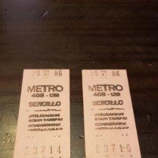 Coleccionismo Billetes de transporte: BILLETES ANTIGUOS METRO. Lote 169469564