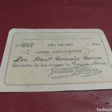 Coleccionismo Billetes de transporte: BILLETE FERROCARRILES LORCA A BAZA Y DIPUTACIÓN ALMENDRICOS AL PUERTO ÁGUILAS. 1906. CONTADOR MINAS. Lote 170220285